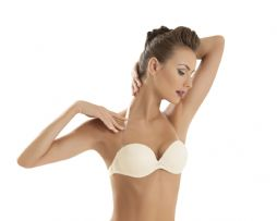 1570 Clear Back Strapless Push Up Bra (White)